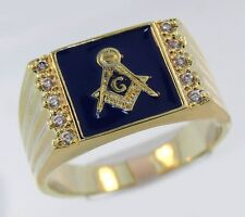 MASONIC MASON 18K GOLD 10 CZ STONES GP BLACK  RING SIZE 7 8 9 10 11 12 13 14