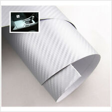 "15""x 39"" SILVER Carbon Fiber Vinyl Wrap 3D 4D Stickers Car Interior Accessorie"