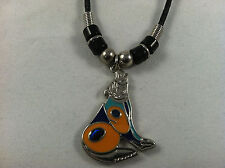 Beautiful Abalone Paua Shell Howling Wolf Pendant Tribal design Necklace