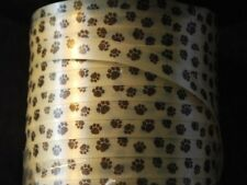 "750 Feet of Dog / Cat .. BROWN PAW PRINT CURLING RIBBON - 1/4"" wide"