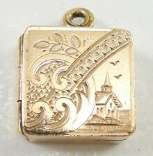 Antique Victorian Gold Filled Square Locket Pendant Hand Engraved Circa 1900's