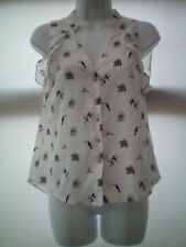 QUIRKY ANIMAL PRINT TOP SIZE EUR 32 BY H&M VGC MONKEY,BIRDS ETC