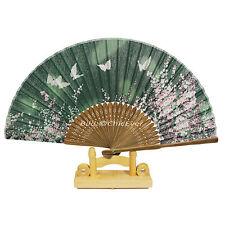 Fächer Handfächer aus Bambus & Leinen Blumen Schmetterlinge grün braun 6797