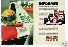 Publicité advertising 1991 (2 pages) Minitel 3615 MRS Ferrari F1