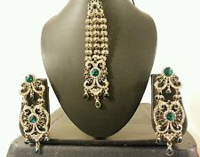 New Indian jewellery Bollywood Style Earrings with Tikka Set in Gree & WHT  9050