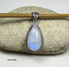 Rainbow Moonstone & 925 Sterling Silver Gemstone Pendant Fine Jewelry 18x43