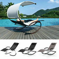 LUXURY SUN LOUNGER BED OUTDOOR GARDEN PATIO ROCKING CHAIRS TWIN CHAIR LOUNGERS
