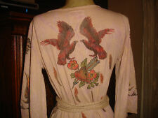 Butterfly Dropout Birds Feathers Tattoo Wrap Dress Sz M RARE FIND!
