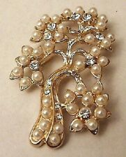 BROCHE BIJOU VINTAGE ARBRE RELIEF PERLE CRISTAUX DIAMANT COULEUR OR * A01