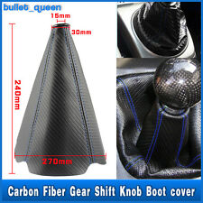 Blue Stitch Black PVC Carbon Fiber Shifter Shift Gear Knob Boot Cover Car Auto