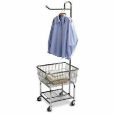 Laundry Cart Garment Organizer On Wheels w/ Clothing Basket Valet Bar Home NEW