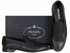 NEW PRADA MEN'S BLACK SAFFIANO LEATHER LOGO DRESS CASUAL LOAFERS SHOES 7/8
