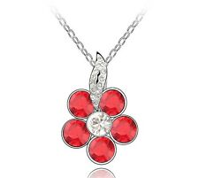 18k Gold GP Swarovski Element Crystal Pendant Necklace Flower Red