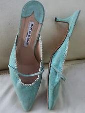 mint green Manolo Blahnik kitten heel slippers size EU 38,5