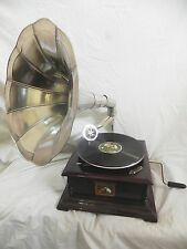 GRAMOPHONE PHONOGRAPH FULLY FUNCTIONAL PLAIN STEEL HORN SOUND BOX WITH NEEDLES