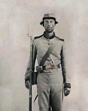 CIVIL WAR CONFEDERATE SOLDIER VINTAGE PHOTO BAYONETED MUSKET KNIFE #21340