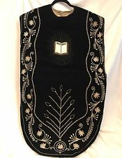 Antique 1800s French Catholic Priest Vestment Black Velvet Chasuble, HOLY BIBLE