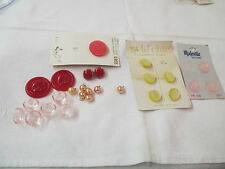 Vintage 25 Buttons red pink yellow Le Chic Majestic faux pearls