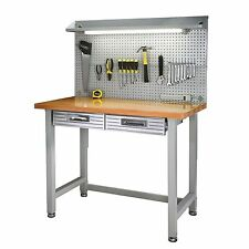 Heavy Duty Lighted Workbench Wood Hardwood Top Tool Box Storage silver