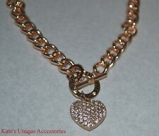GUESS ROSE GOLD TONE TOGGLE PUFFED HEART CHARM NECKLACE RHINESTONE NWT