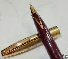 SHEAFFER IMPERIAL VIII FOUNTAIN PEN MAROON GOLD PLATED CAP 14K MED FIRM RESTORED