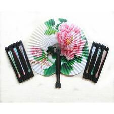 2Pcs Chinese Flower Bird Printing Folding Round Hand Held Papre Fans Mini Fan