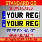 QUALITY GB REG NUMBER PLATES REAR & FRONT PAIR SHOW PLATES PLAIN WITH GB