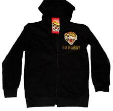 ED HARDY Boys Tiger Gold Foil Black Zipper Hoody NWT MSRP $84 Size 12 DISC!