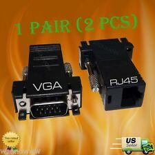 White 2-pack VGA Extender to RJ45 Adapter