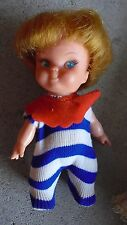 """Small Vintage 1960s Vinyl Plastic Red HairGirl Character Doll 4 1/2"""" Tall"""