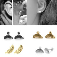 Stainless Steel Feather Barbell Ear Cartilage Helix Stud Bar Earring Piercing
