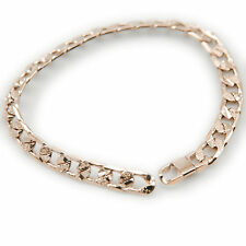 Rose Gold Filled 7mm Solid Curb Link Chain Bracelet Sparkle Texture Pattern New
