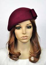 JM60 CUTE Bow 100% Wool Women's Winter Church Tea Dress Hat Cap Fedora WINE-RED