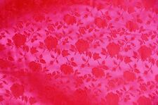 SATIN NEON PINK BROCADE FLORAL JACQUARD BACKDROP FABRIC WEDDING YARD HOME DECOR