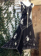 BNWT Flapper/Gatsby PHASE EIGHT *Emb Fan* embellished SILK embroidered dress 12