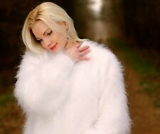 WHITE Hand Knitted Mohair Sweater Fluffy Soft Fuzzy Pullover by SUPERTANYA S M L