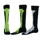 X RAY Flat Knit Knee High Socks black neon green white skeleton bones unisex