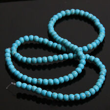 4strings Blue Round Loose Gemstones Turquoise Beads Charms Findings 4mm C
