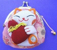 Japanese Maneki Neko Lucky Cat Coin Purse Bag #22408-3