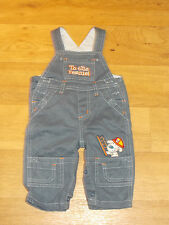 Boys blue dungarees 3-6 months by M&Co with Fireman dog