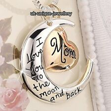 CHRISTMAS DEALS - Rose Gold Mom Heart & Silver Moon Necklace Women Gifts For Her