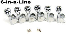 6pc Cool Chrome SKULL Sealed-Gear Guitar Tuners/Machine Heads (6 Right) 31-03-03