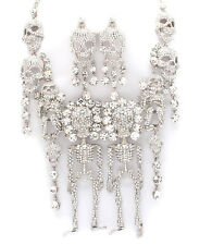 LUXE SPECTACULAR Silver Crystal Skeleton Skull Necklace Set By Rocks Boutique