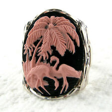 Pink Flamingo Cameo Ring .925 Sterling Silver Jewelry Resin Size Selectable