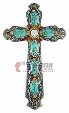 Turquoise Rhinestones Decorative Wall Hanging Cross Silver Accents Sparkly 18 in