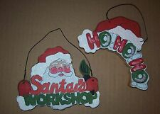 VINTAGE WOOD~CHRISTMAS SANTA & HO-HO-HO PLAQUE/HANGING/ORNAMENT/SIGN