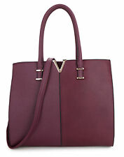LARGE WOMEN'S CELEB FAUX LEATHER TOTE BAGS OVER SIZED SHOPPER COLLEGE  HANDBAGS