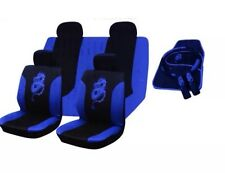 15PC DRAGON STYLE UNIVERSAL FULL CAR SEAT COVER SET BLUE BLACK WASHABLE