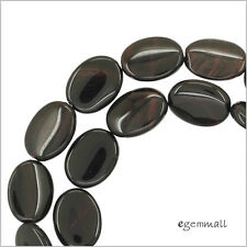 "15.5"" Mahogany Obsidian Flat Oval Beads 12x16mm #89051"
