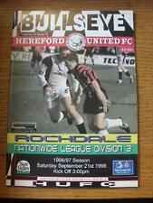 21/09/1996 HEREFORD United V ROCHDALE [ultimo LEAGUE STAGIONE HEREFORD] (MODIFICA del team